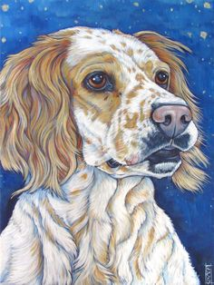 "National Hunting Champion English Setter Takoa Secret Holiday, Portrait Painting in Acrylic Paint on 18"" x 24"" Canvas from Pet Portraits by Bethany."
