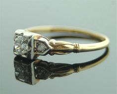 Antique Diamond Ring - Yellow Gold with Diamond Antique Diamond Rings, Antique Engagement Rings, European Cut Diamonds, Round Diamonds, Diamond Sizes, Diamond Cuts, Women's Rings, 25th Wedding Anniversary, Silver Rings