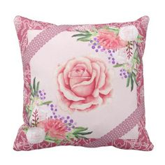 Rose Peony Blush Pink Purple Ribbons Floral Throw Pillow - flowers floral flower design unique style