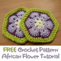 Free Crochet Pattern African Flower Tutorial Detailed Written and Photo Instructions This free crochet pattern for an African Flower tutorial makes up a gorgeous crocheted motif that looks stunning made up with different colors. Hexagon Crochet Pattern, Crochet Poncho Patterns, Crochet Motif, Free Crochet, Crochet Squares, Granny Squares, Crochet Crafts, Crochet Dishcloths, Quilt Pattern