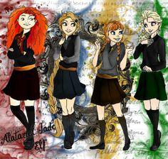 Hogwarts Princesses and Queen by Jade-Anne on DeviantArt Harry Potter Disney, Disney Hogwarts, Disney Nerd, Arte Disney, Disney Memes, Disney Fan Art, Disney Love, Disney Crossovers, Cartoon Crossovers