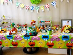 sesame street party theme | The water labels and banner worked so well with the theme ...