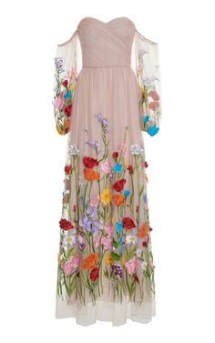 This **Blumarine** Embroidered Gown features a strapless tulle bodice with off-the-shoulder sleeves and floral embroidered details. Couture Fashion, Women's Fashion, Street Fashion, Prom Dresses, Summer Dresses, Beautiful Gowns, Cool Outfits, Party Dress, Fashion Photography