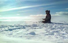 Ice fishing in Kiruna, Sweden