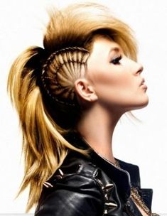 faux hawk! @Jenn L Milsaps L Raymer Please! Please!!! Can we do this to my hurr this weekend and perfect it for halloween