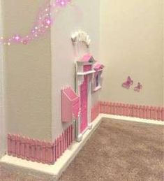 Pink Glitter Opening Fairy Door with pink fences, mailbox and window - Decoration For Home Unicorn Bedroom Decor, Unicorn Rooms, Opening Fairy Doors, Diy Fairy Door, Tooth Fairy Doors, Garden Bedroom, Little Girl Rooms, Girls Bedroom, Bedroom Ideas