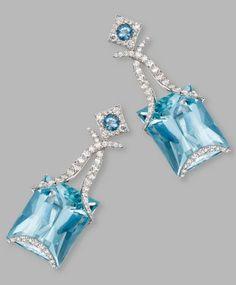 Pair of 18 Karat White Gold, Aquamarine and Diamond Pendant-Earclips, Samuel Getz I Love Jewelry, Fine Jewelry, Jewelry Design, Geek Jewelry, Jewelry Necklaces, Pendant Set, Diamond Pendant, Aquamarine Pendant, Aquamarine Jewelry