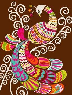 folk abstract peacock