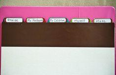 Mamma's prayer journal.  Sections include: praises, husband, children, self, more