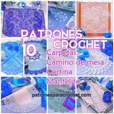 10 patrones de carpetas cortinas manteles crochet filet y tradicional