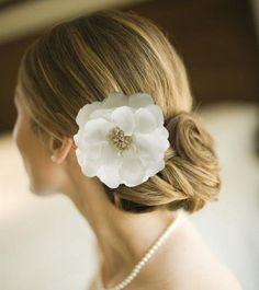 White Bridal Hair Flower Clip