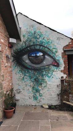 Eyes that reflect the world in the My Dog street art Sig … – Graffiti World 3d Street Art, Urban Street Art, Murals Street Art, Amazing Street Art, Art Mural, Street Art Graffiti, Street Artists, Urban Art, Graffiti Kunst