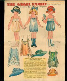 """The Angel Family Paper Dolls Penny Ross """"The Neighbors"""" Chicago Tribune 1922   eBay"""