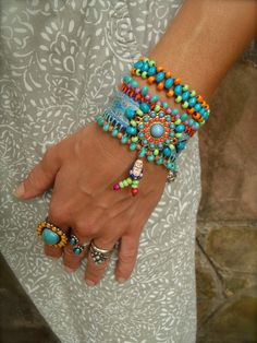 INDIE BUDDHA cuff BRACELET tribal neon colors friendship by GPyoga, $79.00