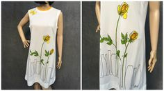 60's Vera Neumann Mod Dress Butterfly Yellow Roses in Bud Vases - Size Medium to Large by ElkHugsVintage on Etsy