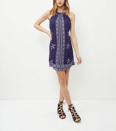 Blue Embroidered Trim High Neck Strappy Dress  | New Look