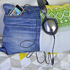 Denim iphone pocket pillow - Pillarboxblue.com