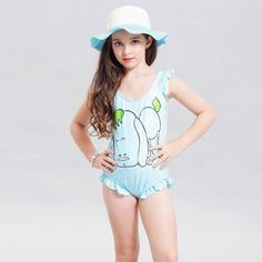 Fecihor Girls' Solid Splice One-Piece Swimsuits Swimwear with sunhat For Kids: Amazon.de: Sport & Freizeit