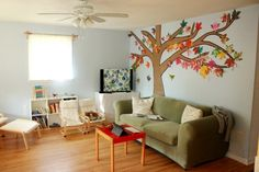 homemade autumn tree large wall art - We sponge painted butcher paper with autumn-colored paint and made a similar tree on our family room wall. Beautiful and such simple fun!