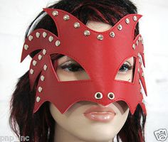 Red-Dragon-Luchador-Costume-Mask-Leather-Studded-Blindfold-Party-Face-Mask-USA