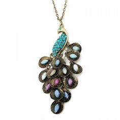 Vintage Gorgeous Rhinestone Decorated Women's Peacock Shape Pendant Necklace