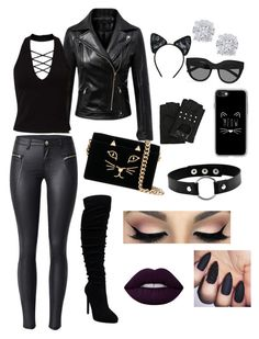 """""""Selina Kyle/Catwoman inspired outfit"""" by rachnunnelee on Polyvore featuring Miss Selfridge, Charlotte Olympia, Maison Close, Le Specs, Karl Lagerfeld, Casetify and Effy Jewelry"""