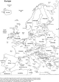 Europe Printable Blank Map Royalty Free, jpg (as well as other continents) for coloring pages