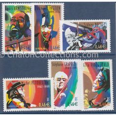 Timbres-poste,  Timbres-poste, Série Personnages Célèbres neuf N° Yvert 3500-3505, Armstrong, Ellington, Bechet, Petrucciani, Garppelli, Fitzgerald. French postal stamps