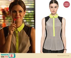 Zoe's grey top with neon yellow collar and trim on Hart of Dixie. Outfit Details: http://wornontv.net/21393 #HartofDixie