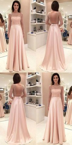 A-Line Prom Dresses,Bateau Prom Dresses,Long Sleeves Prom Dresses,Backless Prom Dresses,Pearl Pink Prom Dresses,Beading Prom Dresses,Prom Dresses 9213	#LoveDresses #longpromdress #charmingpromgown #fashionpromdress #elegantpartydress #promdress #pinkpromgown