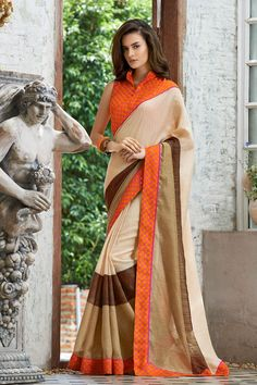 Cream & Orange Linen Printed Saree #saree