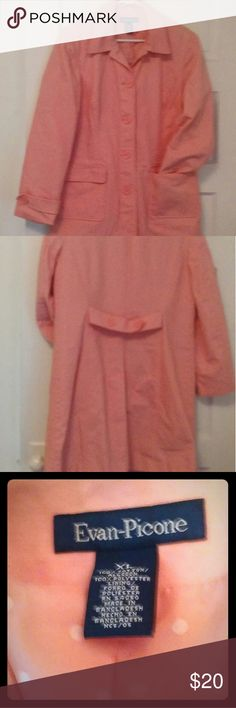 Women's Coat. Evan-Picone. XL Beautiful shade of pink. 100% soft cotton lined with 100%polyester pink with white polkadots. Evan-Picone Jackets & Coats