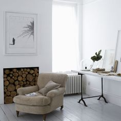 Fireplace with logs
