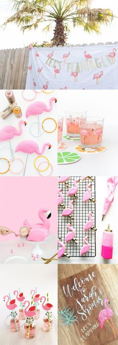 Flamingo Bridal Shower Inspiration for a Let's Flamingle party. Flamingo desserts, flamingo decorations and more!