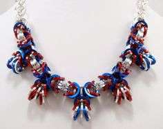 Red Silver and Blue Chainmaille Necklace by AndrassidyDesigns