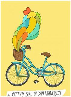 Bike Love: 7 Charming Bay Area Pedal Prints   7x7 I Left My Bike in San Francisco, Digital Print by Bunny Dee