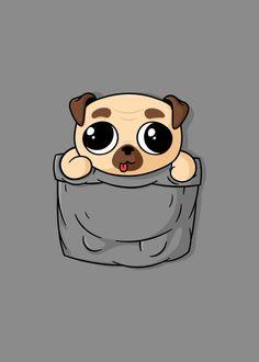 Cute Pocket Pug by Beka Chkhenkeli Cute Dog Drawing, Cartoon Dog Drawing, Drawing Cartoons, Baby Animal Drawings, Cute Drawings Of Animals, Dog Drawings, Draw Animals, Animals Dog, Pug Wallpaper