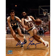 Walt Frazier Signed Knicks Dribble vs Celtics 8x10 Photo