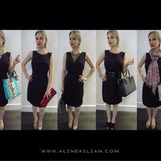#Pretinhobásico O mesmo vestido 5 looks, mudando apenas os acessórios. Super versátil!  Para acertar no modelito: - opte por qualidade; - procure um modelo que valorize sua silhueta; - escolha um tecido sem brilho, que o torna mais versátil. Arrase no seu #pretinhobásico  #consultoriadeimagem #alinekilian #personalstylist #moda #montagemdelooks