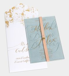 Custom Invitation Suite / Laser Etched Frosted Acrylic / Gold Foil / Debossed Suede / Pale Grey Letterpress / Natural Leather Strip / Monogram / Anne Robin Calligraphy / Bliss & Bone