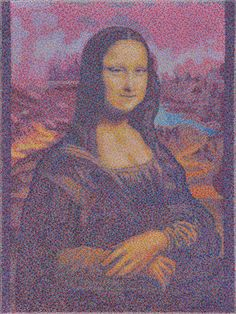 "#finearts, ""(#slowmade) leonardo: mona lisa"", 09. - 10. 2009, #pixelism - ca. 120.000 painted pixels, acrylic on canvas, 60 x 80 cm, ■ = 2 x 2 mm, (23.62"" x 31.50"", ■ = 0.08"" x 0.08""), painting time: 160 hours."