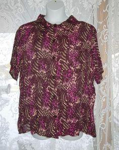 cdebee1f72b NEW Jaclyn Smith Womens Plus Size 2X Purple Animal Print SS Gauze Blouse NWT