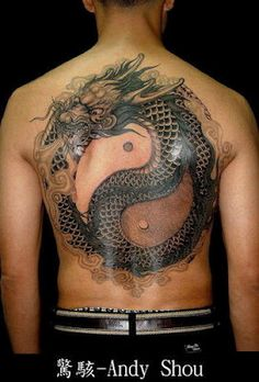 Unique Tai-chi dragon tattoo