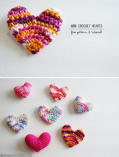 Free pattern - Mini Crochet Hearts at Mon Makes Things: http://www.monmakesthings.com/2014/02/mini-crochet-heart-pattern.html