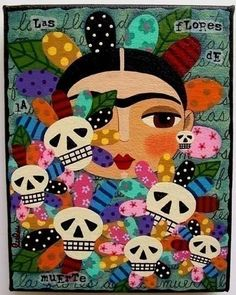 """Las Flores de la Muerte"" -- a print from My Pink Turtle Studio (Etsy) that features a Frida and skulls wrapped in flower petals."