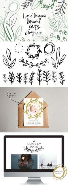 Hand Drawn Botanical Leafy Graphics // Creative Market Illustrations // 45 whimsical, vector pieces