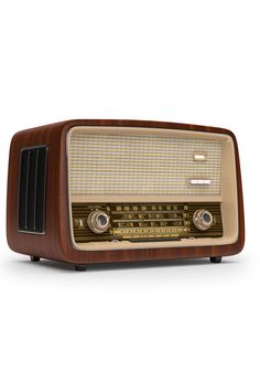 This sleek retro radio can blend into any home's aesthetic. As well as the charming design it provides access to DAB radio for a multitude of listening options. Wooden Speakers, Radio Usa, Dab Radio, 3d Cnc, Old Room, Abandoned Amusement Parks, Retro Radios, Store Fronts, My New Room