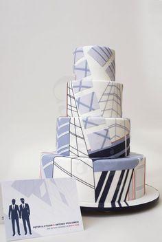 LOVE this cake. Architectural Mad Men wedding cake