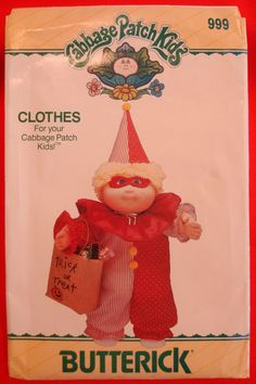 1980s Cabbage Patch Kids Clown Costume Pattern UNCUT Butterick 999 Doll Clothes, is this CUTE or what?