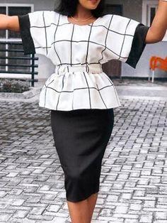 f77fa3df371  AdoreWe  EricDress -  EricDress Ericdress Plaid Collect Waist A-Line T-